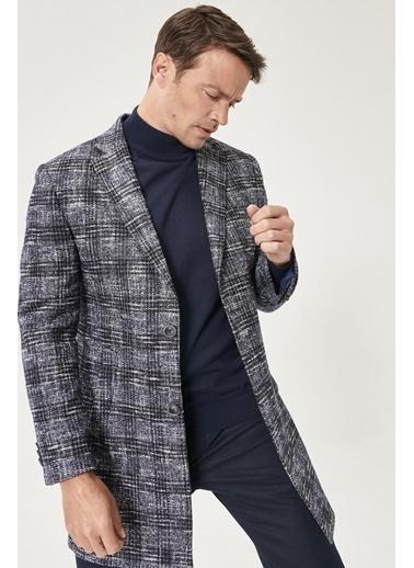 Beymen Business Standart Fit Desenli Palto 4B0521100011 Lacivert
